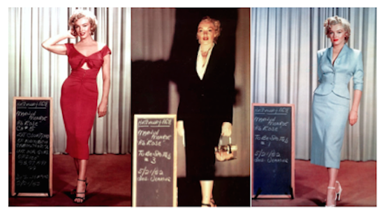 Marilyn Monroe, various wardrobe tests for Niagara.  red dress, black dress, baby blue dress