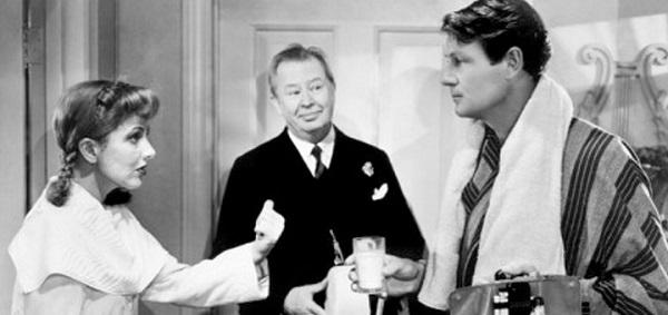 Jean Arthur, Joel McCrea, and Charles Coburn in The More the Merrier (1943) bathrobes