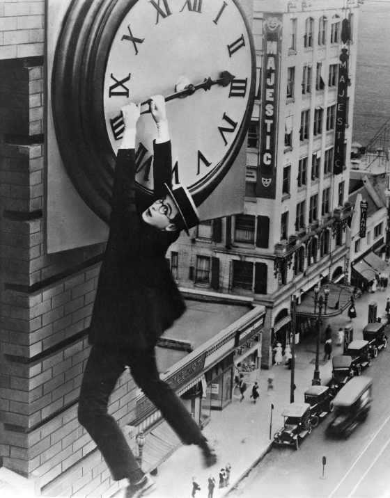 Harold Lloyd in the famous clock scene from Safety Last!