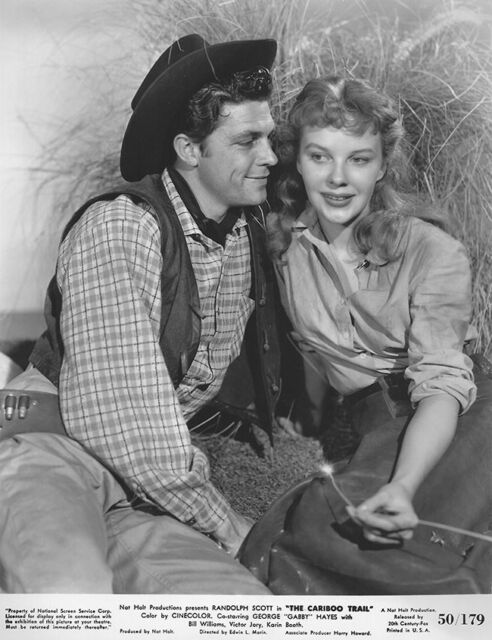 Dale Robertson and Mary Stuart in The Cariboo Trail (1950)