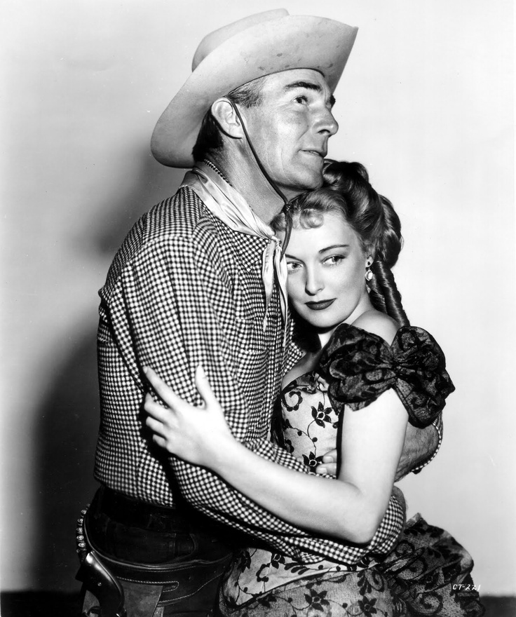 Randolph Scott & Karin Booth in The Cariboo Trail (1950)
