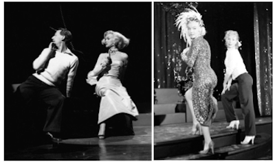 Monroe rehearses on set with choreographer Jack Cole & Gwen Verdon