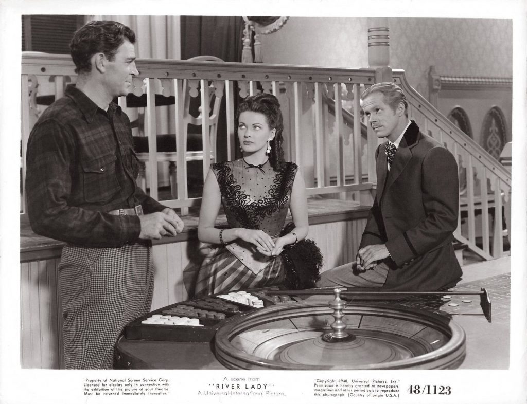 Dan Duryea, Yvonne De Carlo and Rod Cameron in River Lady (1948)