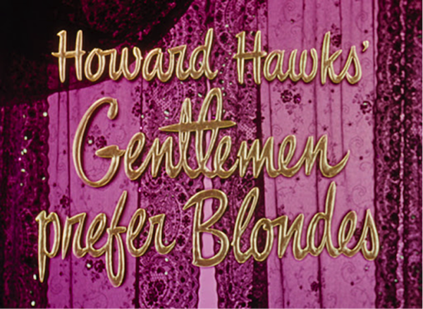 howard hawks gentlemen prefer blondes title treatment