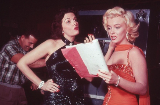 jane russell and marilyn monroe behind the scenes gentlemen prefer blondes 1