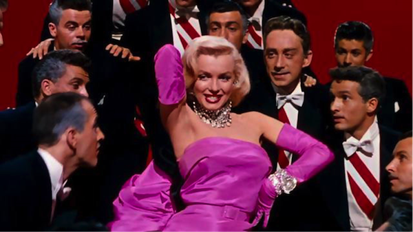 marilyn monroe gentlemen prefer blondes pink dress diamonds are a girls best friend