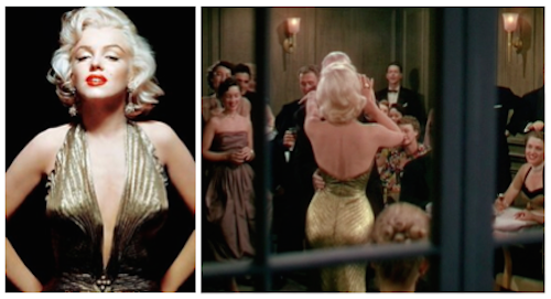 marilyn monroe gold lame gown gentlemen prefer blondes
