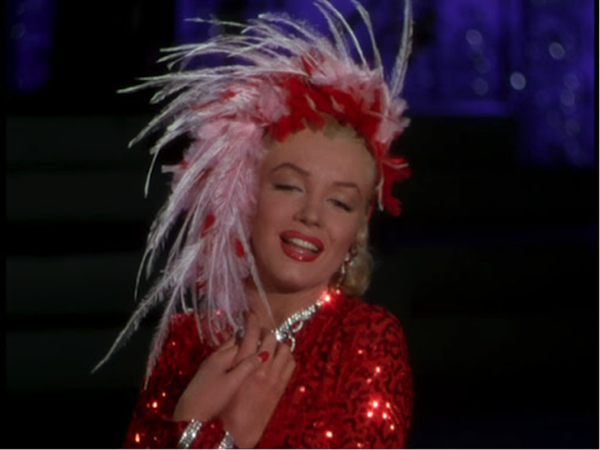 marilyn monroe red sequin dress gentlemen prefer blondes