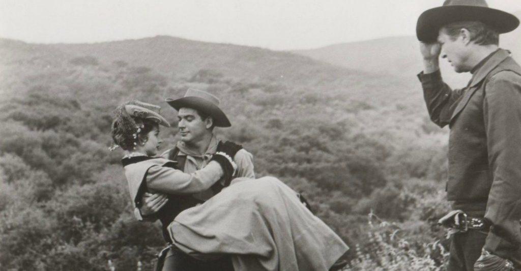 Coleen Gray, John Bromfield, and Jim Davis in Frontier Gambler (1956)