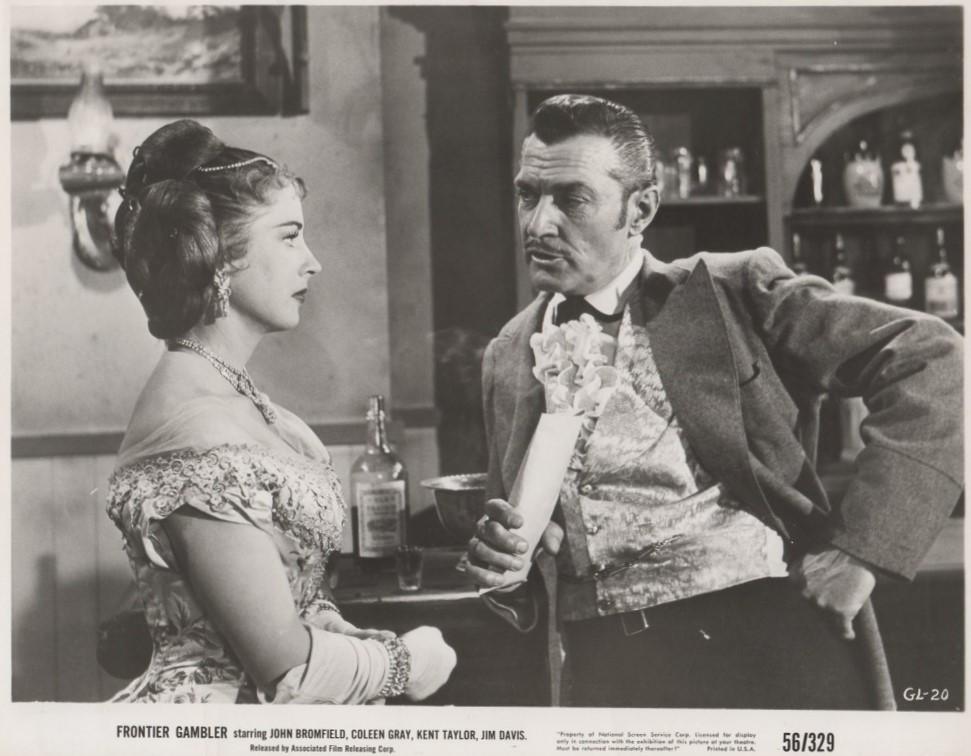 Coleen Gray and Kent Taylor in Frontier Gambler (1956)