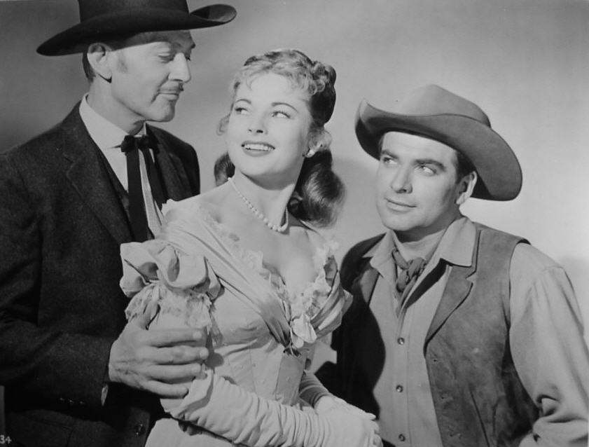 Kent Taylor, Coleen Gray and John Bromfield in Frontier Gambler (1956)