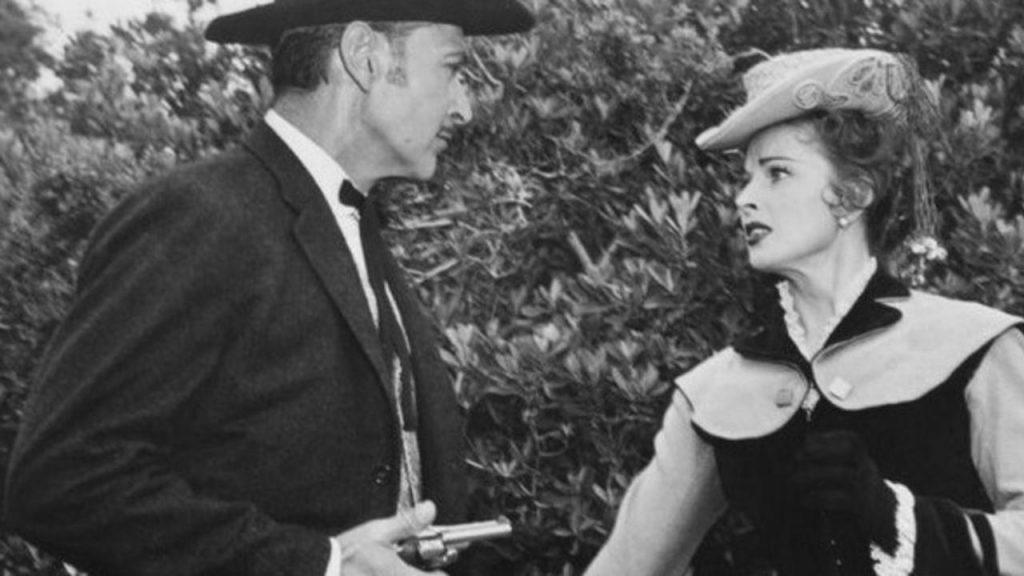 Kent Taylor and Coleen Gray in Frontier Gambler (1956)
