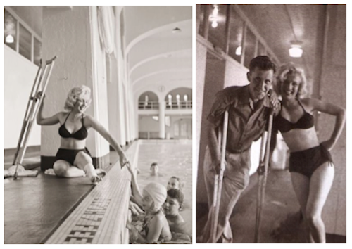 John Vachon photographed Monroe in the Banff Springs Hotel's indoor swimming pool and borrowed her crutches