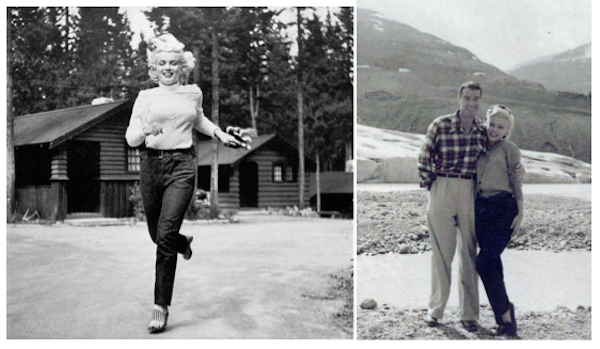 Marilyn Monroe on location river of no return, joe demaggion visits monroe on location
