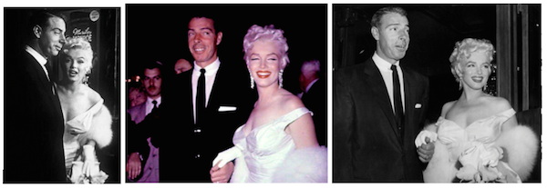 divorced, Monroe & DiMaggio attend the premiere on her 29th birthday in 1955