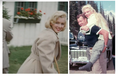 marilyn monroe on crutches during river of no return; crew member carries monroe on location