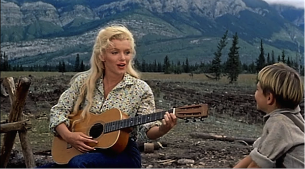 marilyn monroe with guitar Tommy Rettig river of no return 1
