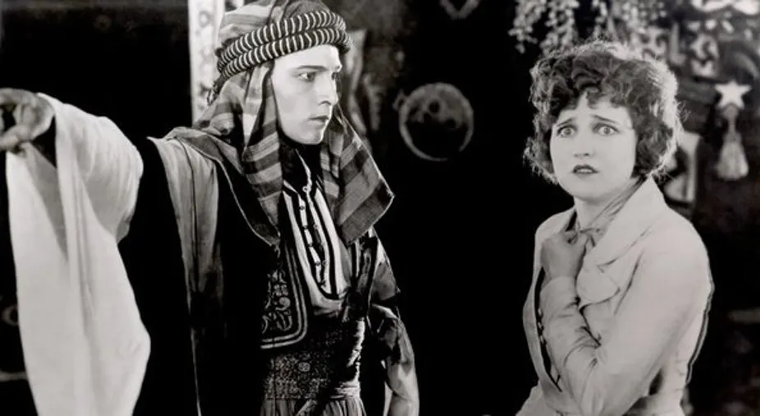Rudolph Valentino and Agnes Ayres in The Sheik.