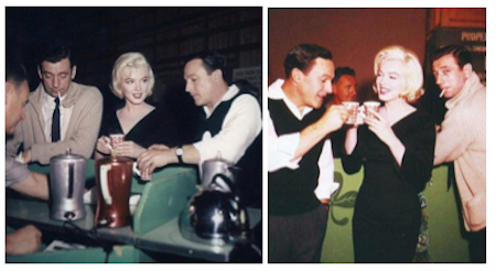 yves montand, gene kelly, marilyn monroe drinking coffee on the set of let's make love