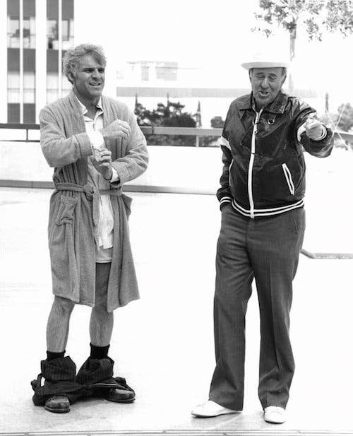 Beginning in 1979 Reiner began a creative partnership with comedian Steve Martin. Here they are on the set of their first film The Jerk