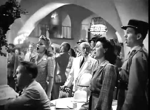 "Casablanca crowd sings ""La Marseillaise"""