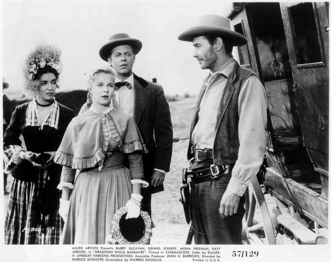 Katy Jurado, Mona Freeman, Casey Adams, and Barry Sullivan in Dragoon Wells Massacre (1957)