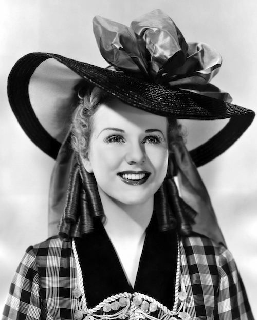 Cant Help Singing Deanna Durbin portrait with hat 3