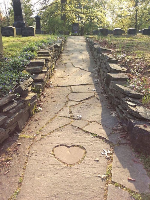 Hunt-Ball family plot in Jamestown - pathway follow the hearts