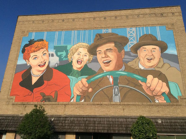 Lucy and Desi driving mural Jamestown
