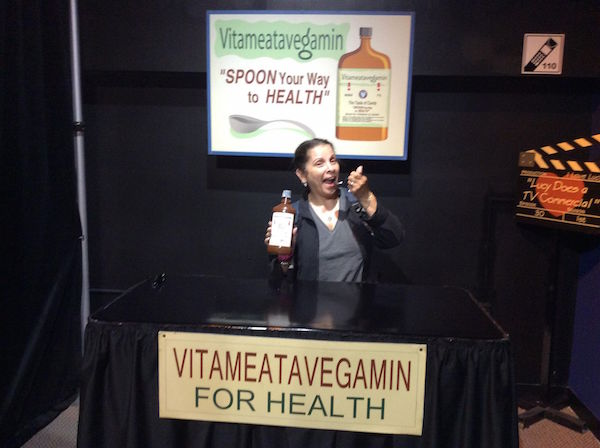 Vitameatavegamin This is my sister mimicking Lucy. They had the dialogue to the scene available and whoever you're with can make a video of you acting out the scene