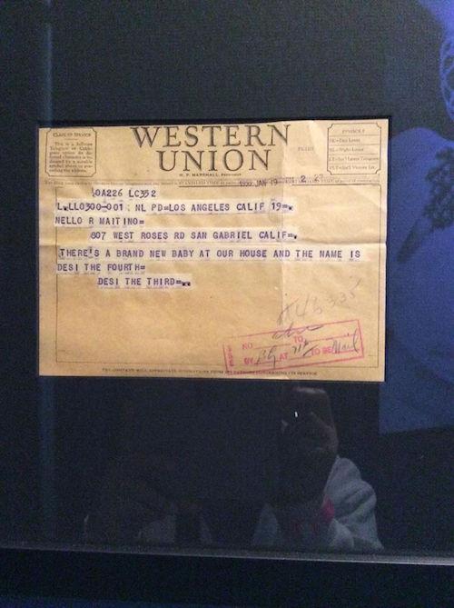 telegram announcing Desi Jr's birth at Lucy-Desi Museum