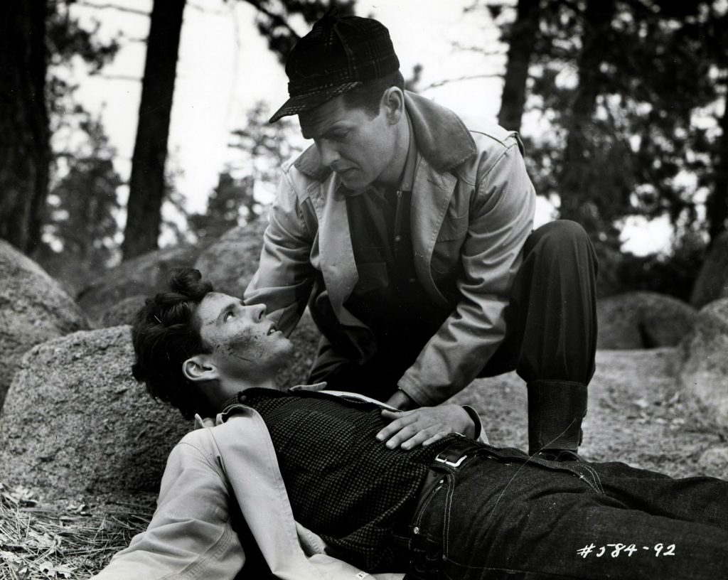 Geologist Wayne Brooks (Ed Kemmer) looks after young Charlie  Brown (Gary Crutcher) who has been attacked by the title creature in Giant From the  Unknown.