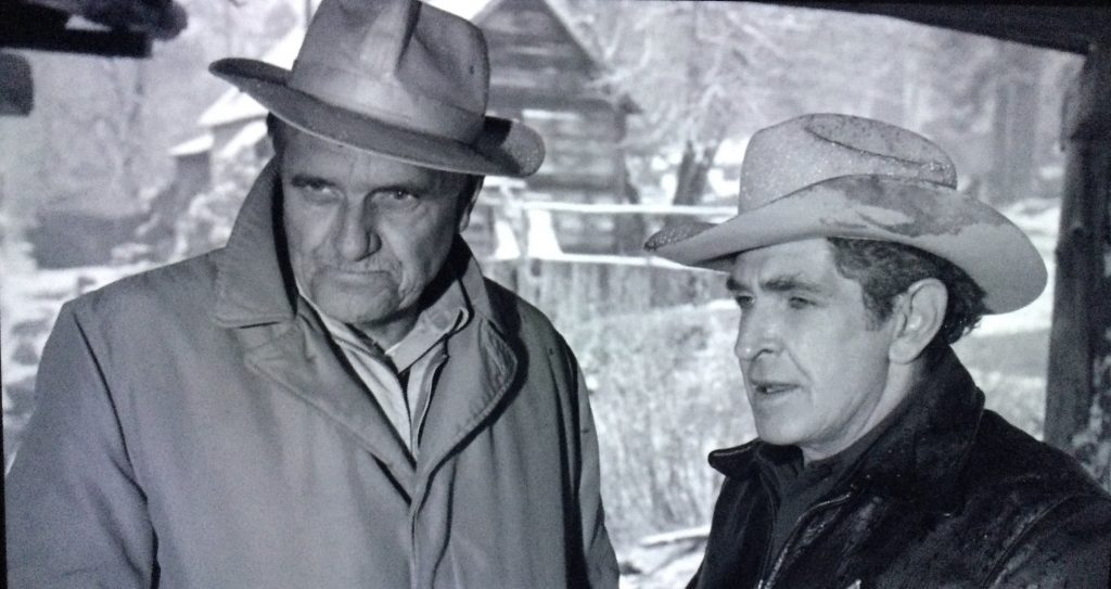 """Morris Ankrum, left, and Bob Steele are two familiar B-movie character actors who appear in """"Giant From the Unknown."""""""