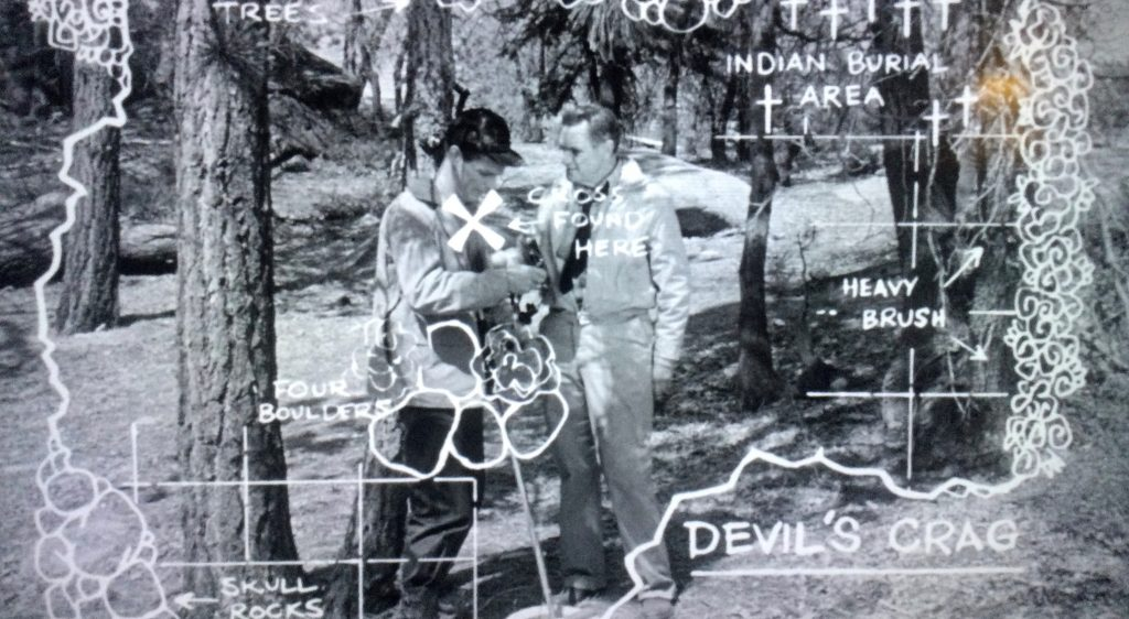 Director Richard E. Cuhna keeps this scene of Ed Kemmer, left, and Morris Ankrum from being mundane by overlaying a fun, hand-written map.