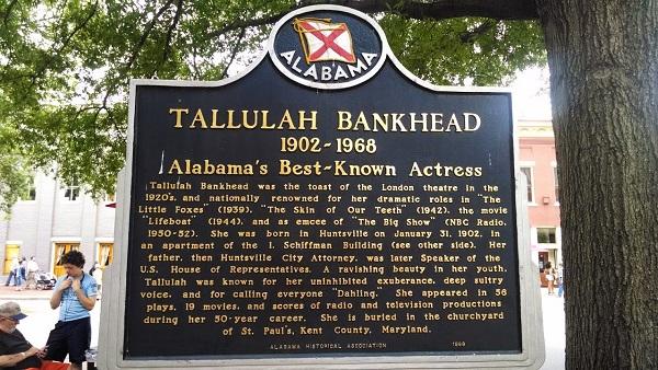 Tallulah Bankhead Birth Marker Huntsville Alabama