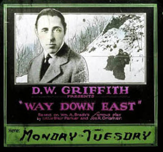 Advertisement for D.W. Griffith's Way Down East (1920)