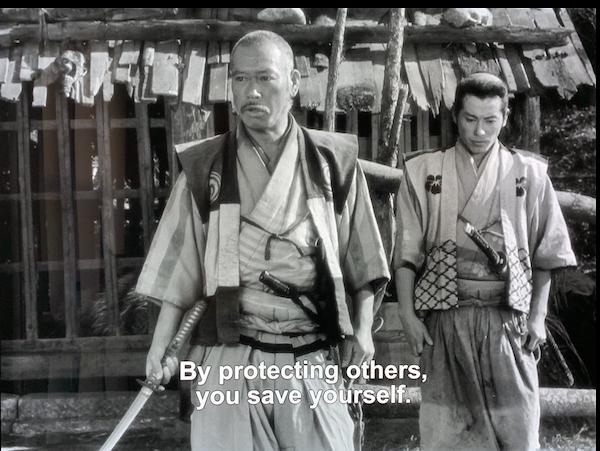 Takashi Shimura as Kambei and Isao Kimura as Katsushiro, Seven Samurai