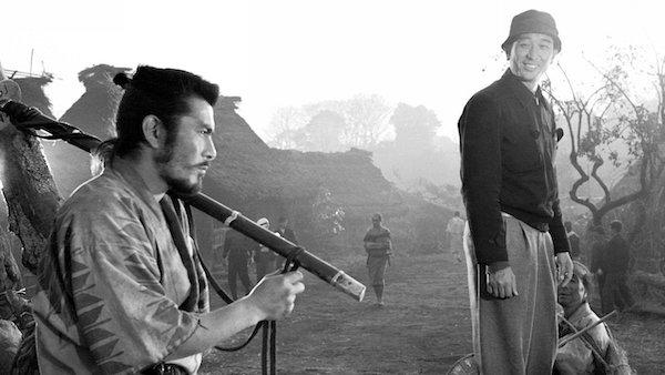 Toshiro Mifune Akira Kurosawa on the set of Seven Samurai.