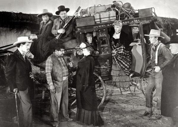 John Wayne, John Carradine, George Bancroft, Berton Churchill, Andy Devine, Chris-Pin Martin, Donald Meek, Louise Platt, and Claire Trevor in Stagecoach (1939)