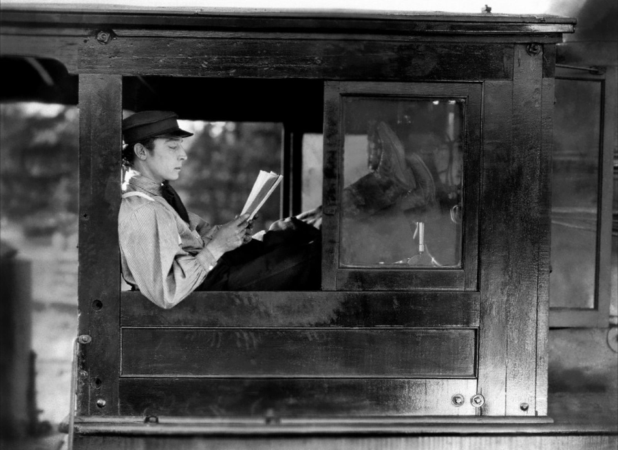 Buster Keaton reading The General (1926)
