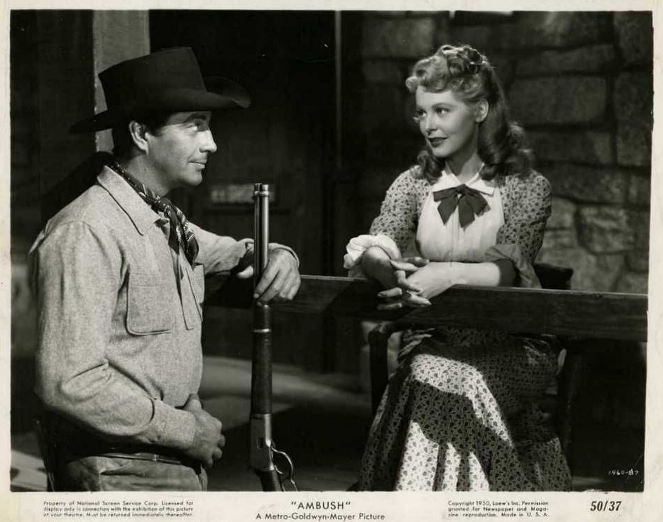 Robert Taylor and Alrene Dahl in Ambush (1949)