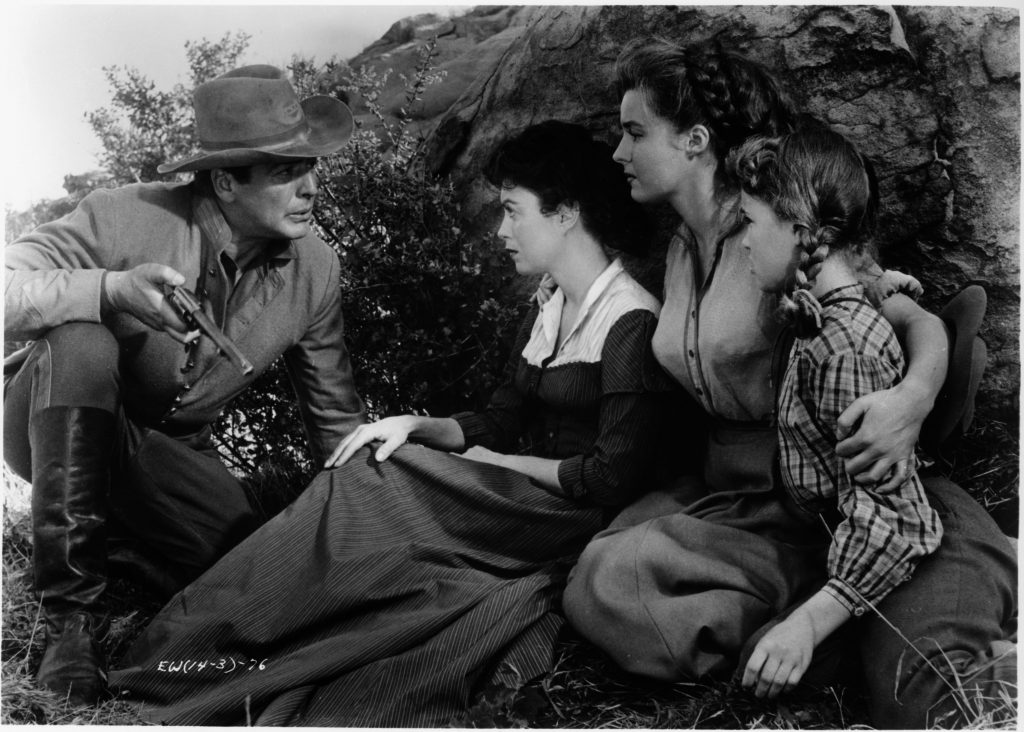 Victor Mature, Faith Domergue, Elaine Stewart, and Reba Waters in Escort West (1958)