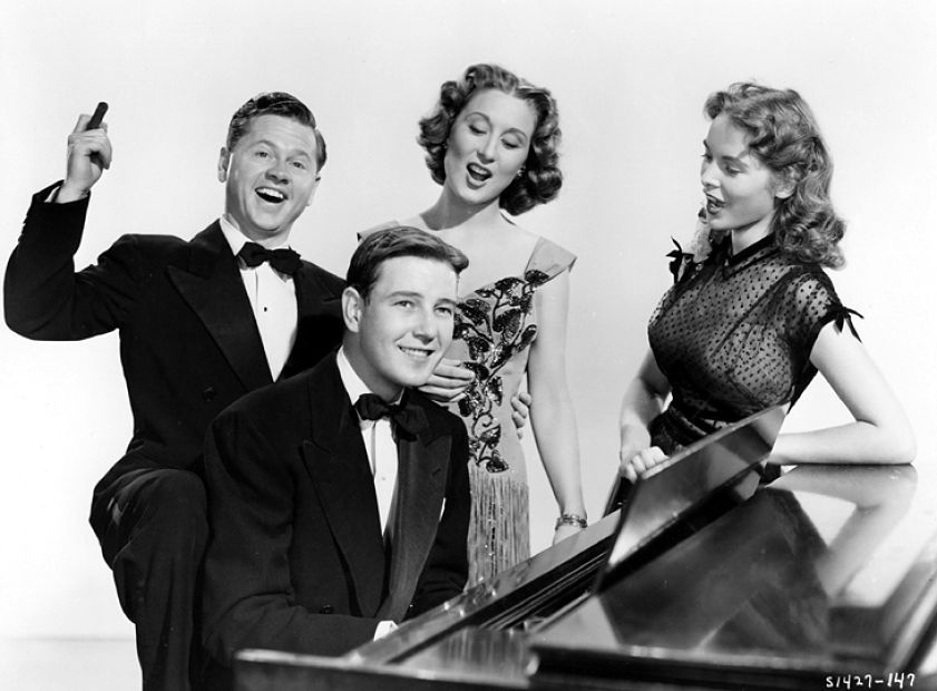 Mickey Rooney, Tom Drake, Janet Leigh, and Betty Garrett in Words and Music (1948)
