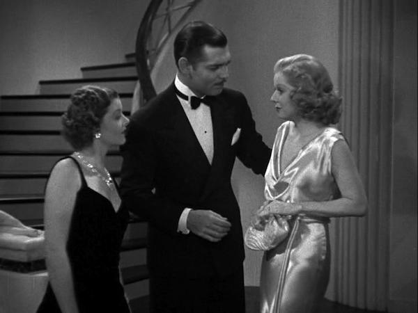 Myrna Loy, Clark Gable, Jean Harlow, wife versus secretary