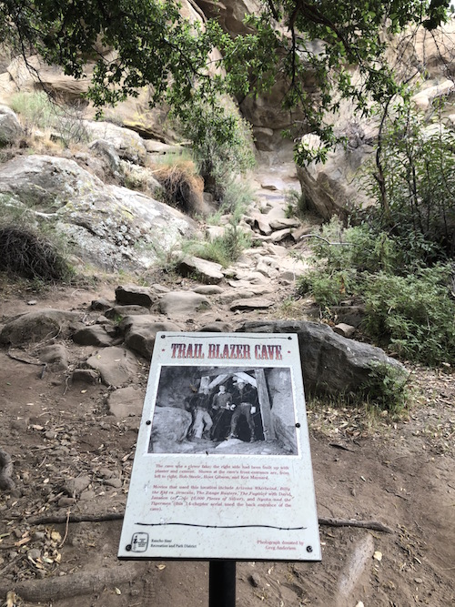 Corriganville Ranch Trail Blazer Cave sign