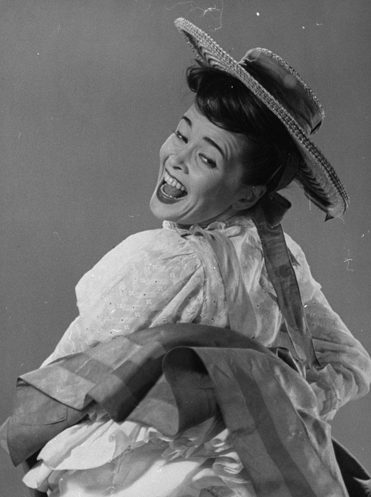 "Joan as Sylvie ""the girl who fell down"", in Oklahoma! (1943)"