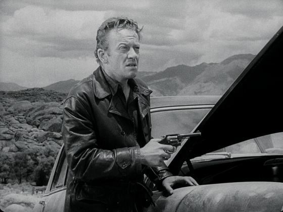 William Talman as the hitchhiker's guide Emmet Myers in The Hitch-Hiker (1953)
