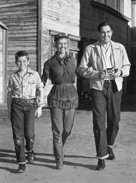 Doris Day, husband Marty and son Terry on the set of Calamity Jane