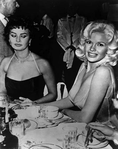 Sophia Lauren shoots Jayne the world's most famous side-eye, April 12, 1957